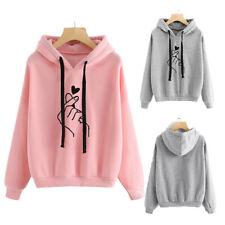 Women's Heart Print Long Sleeve Hoodie Sweatshirt Casual Pullover Tops Blouse AU