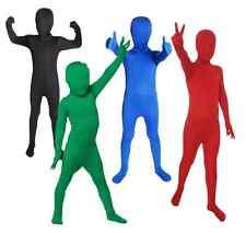 KIDS COLOURED BODYSUITS SECOND SKINS LYCRA BOYS GIRLS FANCY DRESS SKINZ COSTUME