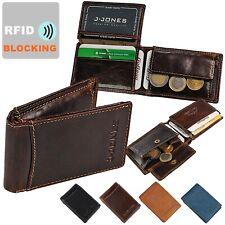 J.Jones kleine Herren Geldbörse Leder Geldbeutel mit RFID Blocker Minibörse 5531