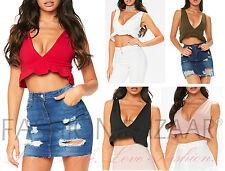 Frill Crop Top Plunge V Neck Summer Holiday Ruffle Hem Bralet Womens Vest Top BN
