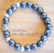 Gemstone Crystal faceted Hematite Silver Buddha Head Bead Strechy Bracelet