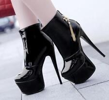 Women's Patent Leather Club Ankle Boots Platform High Heel Shoes Stilettos C321