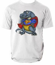 Super T-Rex mens t shirt cartoon dinosaur superhero funny S-3XL