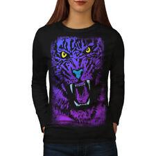 Tiger Beast Purple Animal Women Long Sleeve T-shirt NEW | Wellcoda