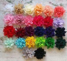 Pleated big Fabric Chiffon Flower 10cm girls, crafts, tutu UK SELLER