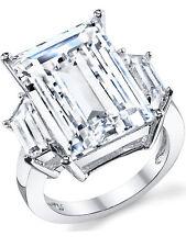 Kim Kardashian Sterling Silver Ring with Large Carat Emerald Cut Cubic Zirconia