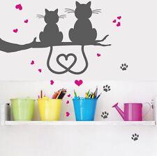 WANDTATTOO Katzenpaar Katze Herzchen Pfoten Liebe Herz Wandsticker Wandaufkleber