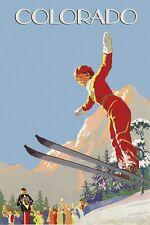 Blonde Lady Jump Ski Skiing Colorado Aspen Vail  Vintage Poster Repro FREE S/H