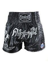 Sandee incassable Thai Short noir argenté Muay Thai Kickboxing FRAPPANT MMA