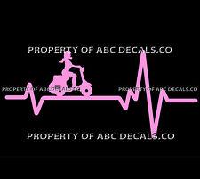 VRS HEART BEAT LINE SCOOTER Electric Gas Girl Heels Helmet Vespa CAR VINYL DECAL