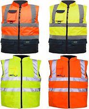 Hi Viz Reversible Body warmer Waterproof Jacket Warm Mens Coat Security Workwear