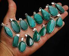 Natural Lot Malachite Gemstone 925 Sterling Silver Plated Bezel Pendants Jewelry