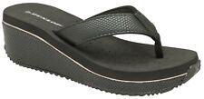 Dunlop Ladies Black Snake skin Wedge Heel Toe Post Flip Flop Memory Foam Mule