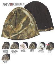 REVERSIBLE Mossy Oak Realtree Camo Fleece/Black Cold Weather Hunting Beanie Cap