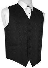 MEN'S BLACK PAISLEY FORMAL DRESS TUXEDO VEST. WEDDING, PROM
