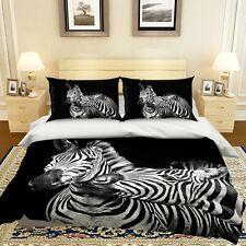 3D Cute Elegant Zebra P64 Animal Bed Pillowcases Quilt Duvet Cover Set Queen Zoe