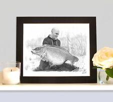 MOUNTED FISHING PORTRAIT Hand Drawn By Angling Artist Robin Woolnough Bespoke