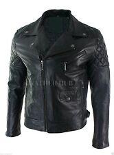 Homme noir matelassé motard cuir véritable veste vintage coupe slim rétro moto
