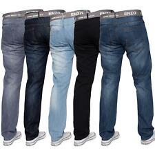 Enzo Mens Straight Leg Jeans Regular Fit Denim Pants Big Tall All Waists Sizes