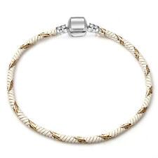 Single Wrap Silver Charm Bracelet 925 Stamped Clasp Charm White & Gold