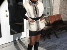 unique Gray & platinium white Mink Fur vest coat S-M