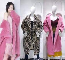 Lujo Mujeres sensación de oso de peluche de gran tamaño de abrigo largo de piel sintética