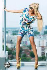 Ocassion Jeans 2-Teiler Tunika Bermuda Shorts Damentop Bluse Röhrenjeans XXS-M