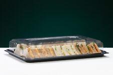 Black Rectangular Plastic Sandwich Platters with Clear Plastic Lids (Large)