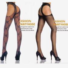 Women's Lingerie Black Crotchless Garter Belt Pantyhose Stockings Hosiery SK29