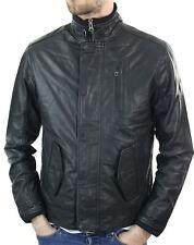Veste courte homme cuir véritable noir vintage rétro fermeture éclair manteau