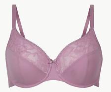 Brand New Ex M&S Non-Padded Lace Full Cup Bra Sizes 32-44 DD-E-F-G Pale Mauve
