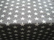 CHILDRENS KIDS RETRO PVC VINYL OIL CLOTH TABLE PROTECTOR PLAIN GREY WHITE STARS