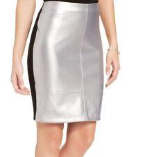 Karen Kane Silver Faux Leather Skirt w/Stretch Contrast Ponte Back - $88