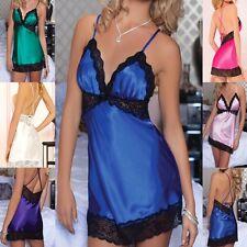 Sexy Lingerie Clubwear Satin Chemise set Babydoll sleep wear mini Dress BD155