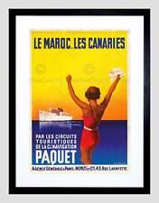 TRAVEL PACKET LINER MOROCCO CANARY SHIP PARIS FRANCE VINTAGE ART PRINT B12X2976
