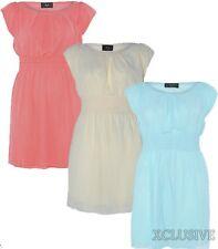 NEW LADIES PLUS SIZE PLAIN CHIFFON WAISTED EVENING DRESSES PARTY DRESS 16-26