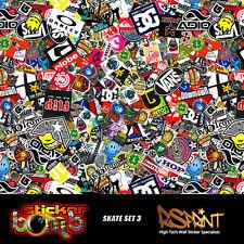 StickerBomb Colour Sticker Graphic Wrap Multipurpose Skate Set 3 Theme V.Large