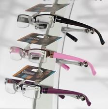 Reading Glasses, Ladies Trendy Designer, Spring Hinged, Pink Purple Black