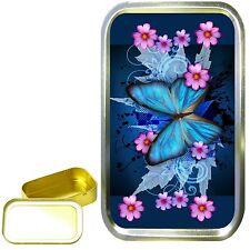 1oz GOLD TOBACCO TIN,STASH CAN,STORAGE TIN,KEEPSAKE BOX. BLUE BUTTERFLY