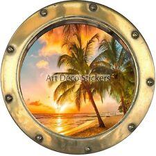 Stickers hublot Coucher de soleil sur plage 8801
