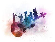 ART PRINT Orchestra illustration, Music Violin Double Bass, Wall Art Gift Decor