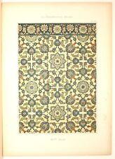 Stampa antica stile arabo MAIOLICHE XVI secolo 1885 Old Print Arabian Style