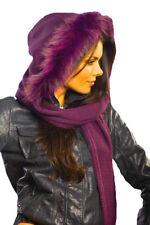 Pawonex Damen Mädchen Winter Kapuze Schal Strickmütze mit Wolle Besatz Echtfell