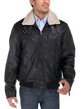Luciano Natazzi Mens Lambskin Trim Fit Heritage Flight Bomber Leather Jacket