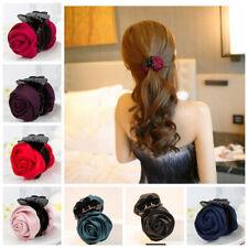 Women Girls Korea Fabric Hair Clip Rose Flower Hair Claw Clips Hair Accessories