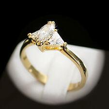 Ladies14K Yellow GOLD EP 1.66ct Created Diamond DIAMOND Solitaire Ring