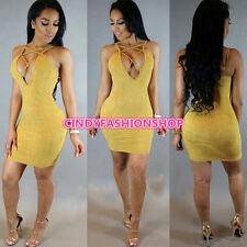 New Women Fashion Sexy Sleeveless Cross Hollow Out Slim Mini Bodycon Party Dress