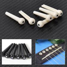 6Pcs Guitar Bone Bridge String End Pins Peg w/shell dot For Acoustic Guitar Bass