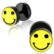Fake Plug pendiente de Oreja Aros Acero Inoxidable Emoji Smiley 1 pieza
