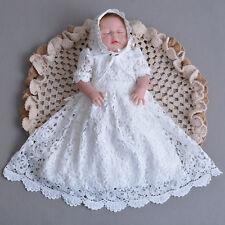 Newborn Baby Christening Gown Infant Lace Baptism Dress with hat/bonnet 3 6 12 M